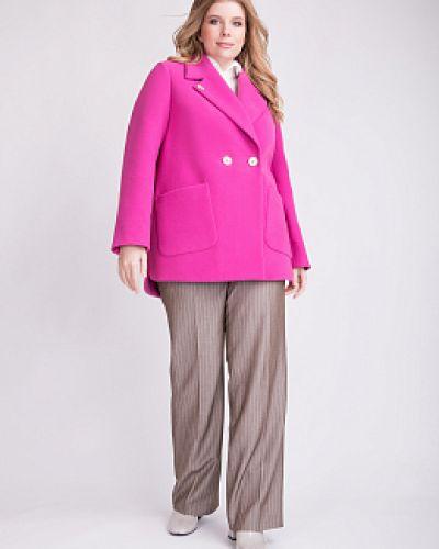 Розовое шерстяное пальто с воротником Electrastyle