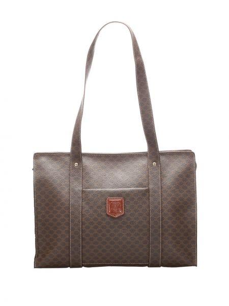 Коричневая парусиновая сумка-тоут на молнии с нашивками Céline Pre-owned