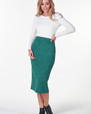 Нейлоновая деловая юбка макси на резинке в рубчик Valentina