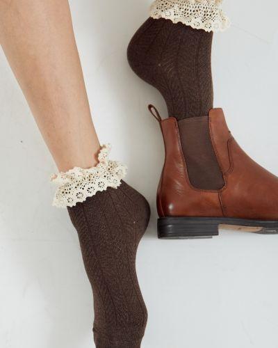 Трикотажные коричневые ажурные спортивные носки Ksox