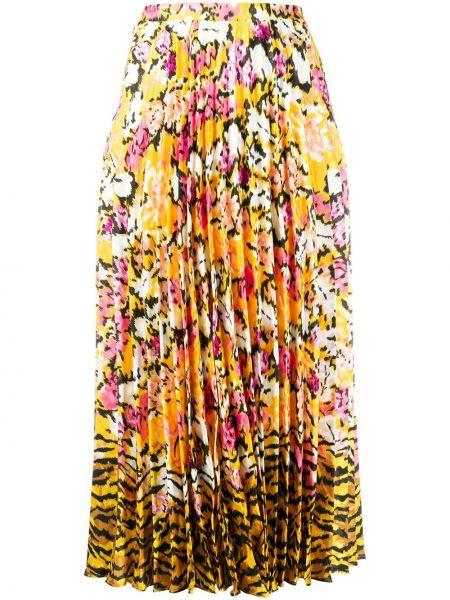 Желтая с завышенной талией плиссированная юбка свободного кроя Saloni