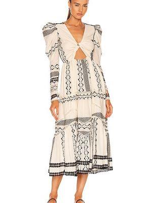 Хлопковое платье миди - белое Hemant And Nandita