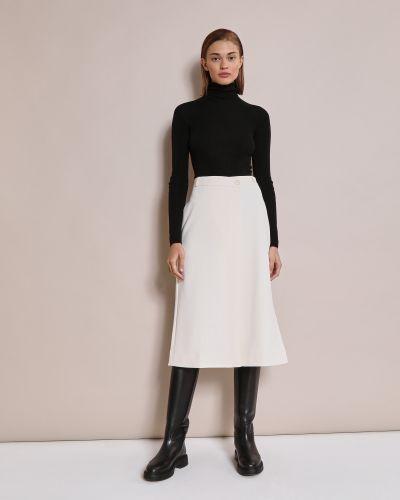 Молочная замшевая юбка миди трапеция 12storeez