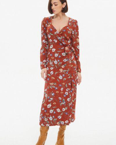 Коричневое платье с запахом Moru