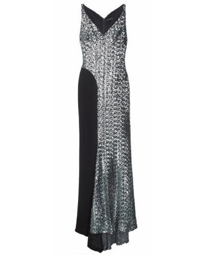 Шелковое черное платье макси с пайетками Chapurin