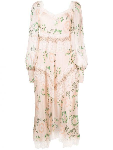 Ажурное шелковое розовое платье макси Ermanno Scervino