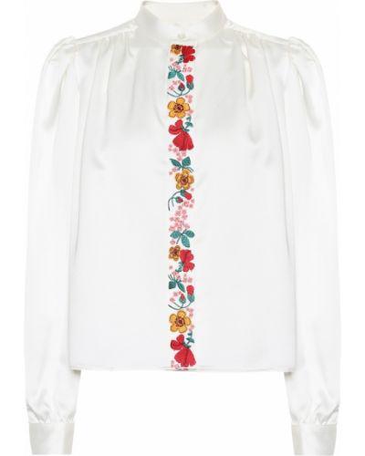Biały bluzka z kołnierzem z haftem zabytkowe Alexachung