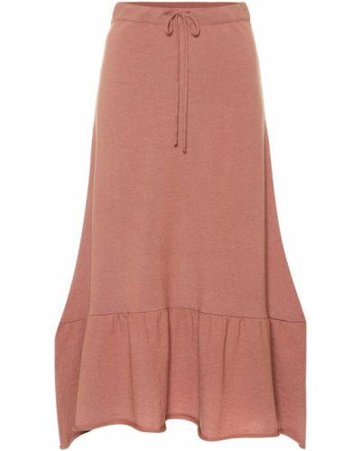 Розовая юбка миди в рубчик Ryan Roche