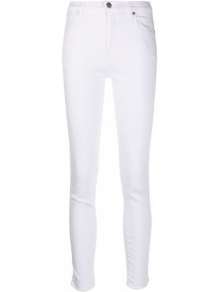 Хлопковые белые джинсы-скинни с нашивками на молнии Pt01