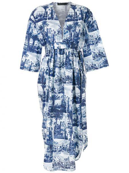 Приталенное с рукавами белое платье миди Andrea Marques