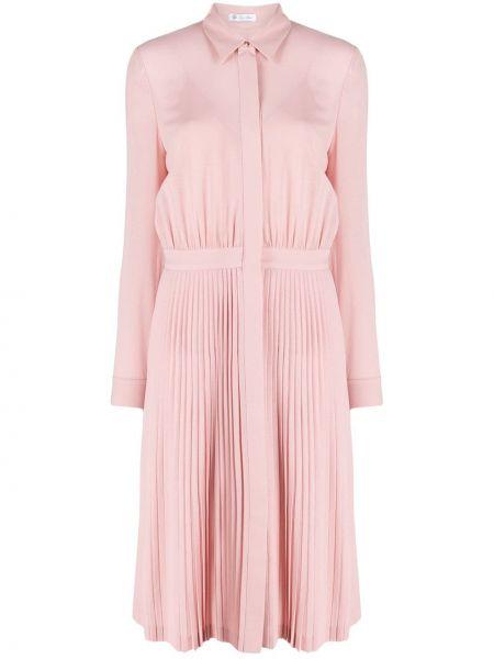 С рукавами розовое платье макси с воротником Loro Piana