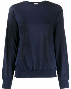 Синий свитер на пуговицах в рубчик с круглым вырезом Mrz