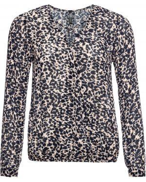 Блузка с длинным рукавом с запахом с леопардовым принтом Bonprix