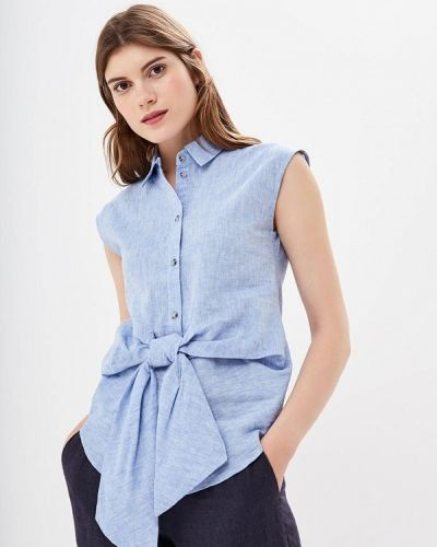 Голубая блузка с бантом Warehouse