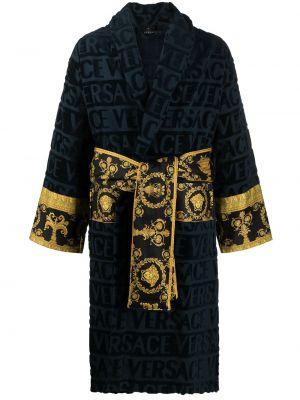 Niebieski szlafrok bawełniany z długimi rękawami Versace