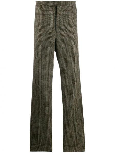 Шерстяные коричневые брюки с карманами на молнии Holland & Holland