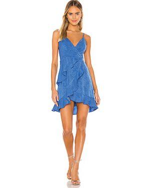Синее платье мини на бретелях на молнии с оборками Bcbgeneration