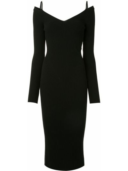 С рукавами трикотажное черное платье миди Mrz