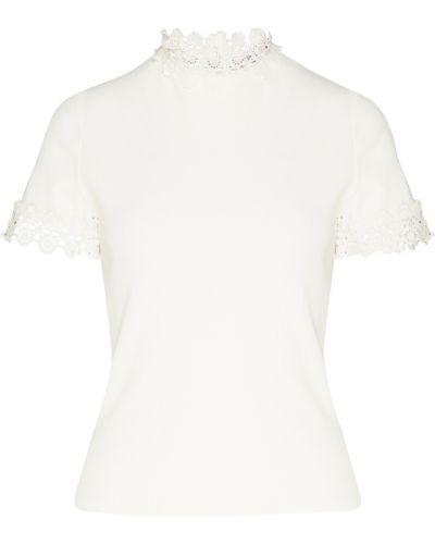 Блузка с коротким рукавом кружевная белая Sandro