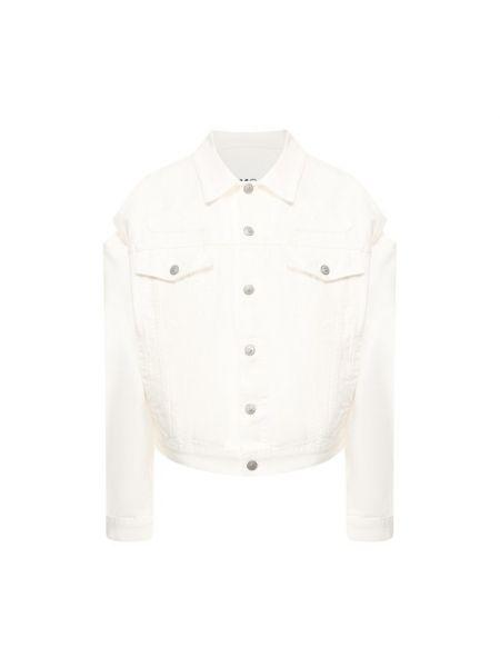 Белая свободная джинсовая куртка свободного кроя с нашивками Mm6