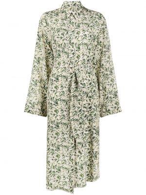 Шелковое платье миди - зеленое Nanushka