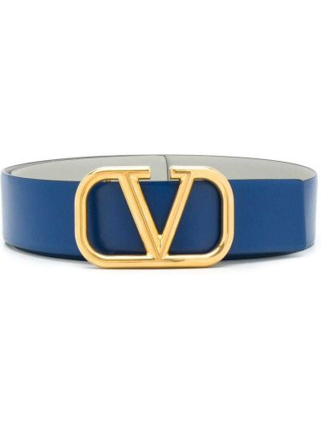 Золотистый кожаный синий ремень Valentino Garavani
