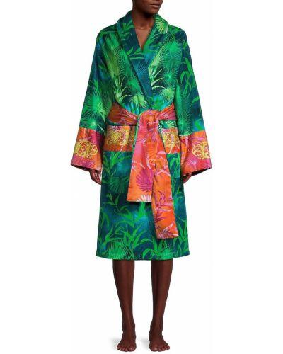 Zielony szlafrok bawełniany z paskiem Versace