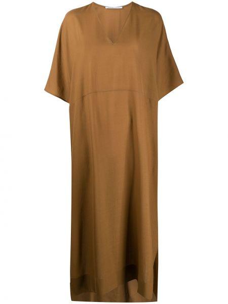 Шерстяное платье макси - коричневое Agnona