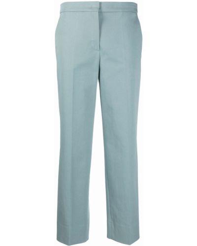 Хлопковые прямые синие укороченные брюки Odeeh
