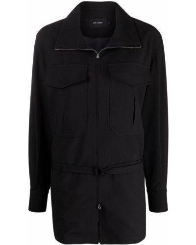 Черная длинная куртка с воротником с карманами Low Classic