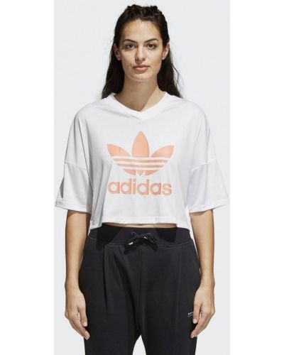 Белое поло спортивное Adidas Originals