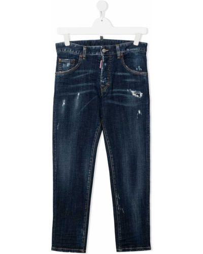Кожаные прямые джинсы на молнии Dsquared2 Kids
