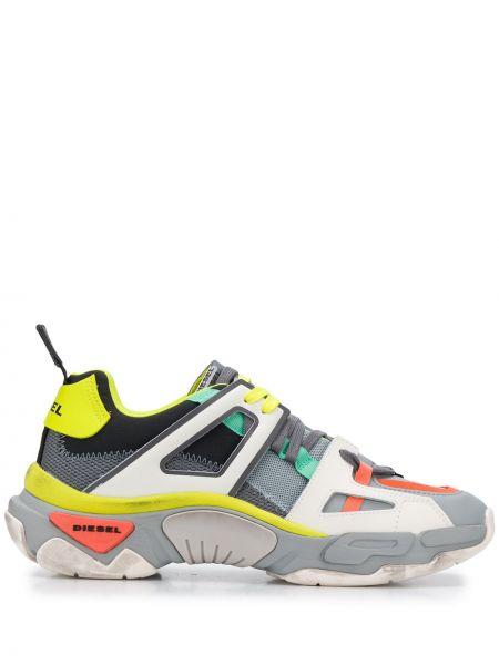 Кожаные кроссовки сетчатые на каблуке с сеткой Diesel
