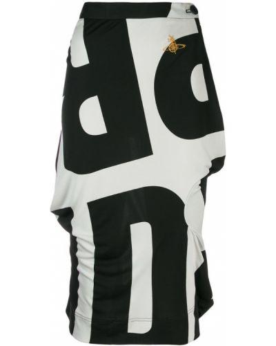 Черная юбка миди с вышивкой в рубчик Vivienne Westwood Pre-owned