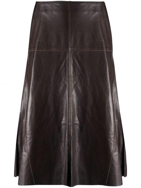 Кожаная коричневая с завышенной талией юбка миди на молнии Arma