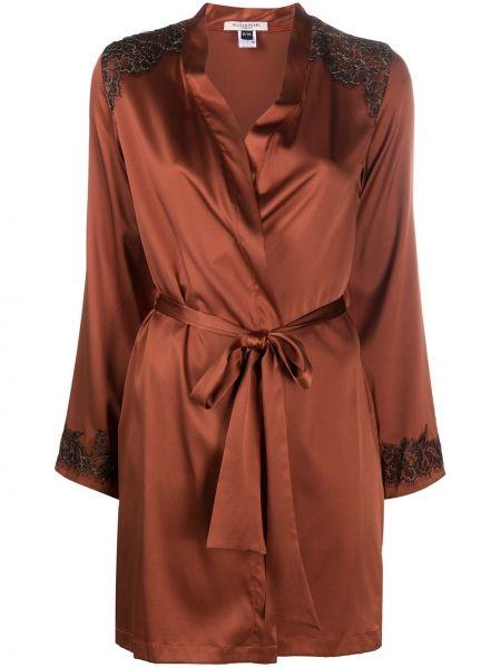 Коричневый с рукавами шелковый халат Gilda & Pearl