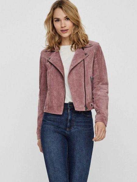 Кожаная куртка весенняя розовая Vero Moda