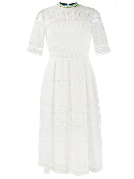 Ажурное домашнее белое платье миди House Of Holland