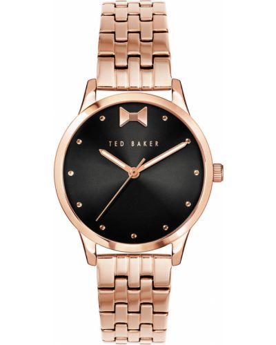 Złoty zegarek kwarcowy z paskiem Ted Baker