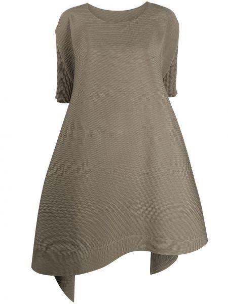 Коричневое расклешенное платье с короткими рукавами с круглым вырезом Issey Miyake