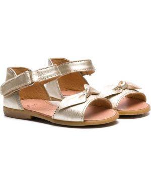 Кожаные сандалии золотые на плоской подошве Pépé Kids