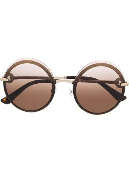 Желтые солнцезащитные очки круглые металлические Bvlgari