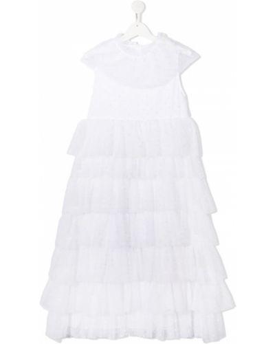 Белое платье в горошек с вышивкой Sonia Rykiel