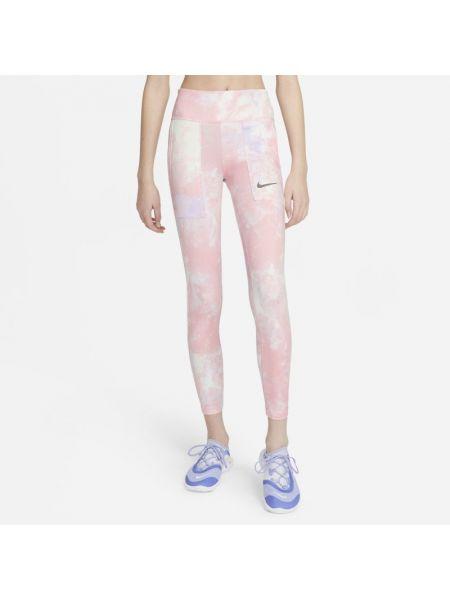 Różowe legginsy z printem Nike