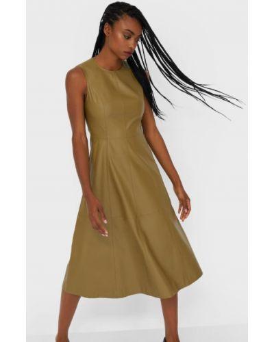 Кожаное платье миди Stradivarius