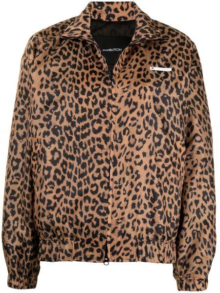 Brązowa długa kurtka z printem z długimi rękawami Pushbutton
