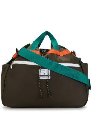 Зеленая нейлоновая сумка на плечо с завязками с карманами As2ov