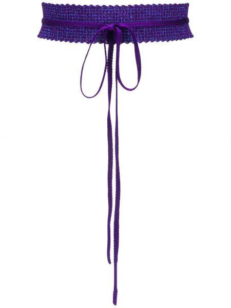 Trykotowy fioletowy krawat Missoni