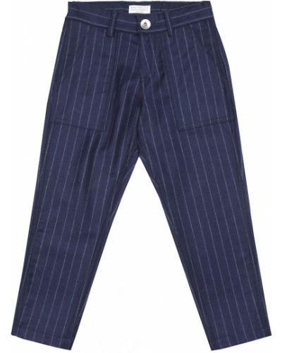 Wełniany niebieski spodnie na uroczystość Brunello Cucinelli Kids