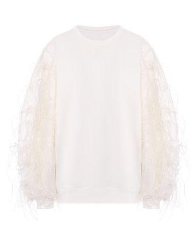 С рукавами хлопковый белый пуловер с декоративной отделкой Valentino